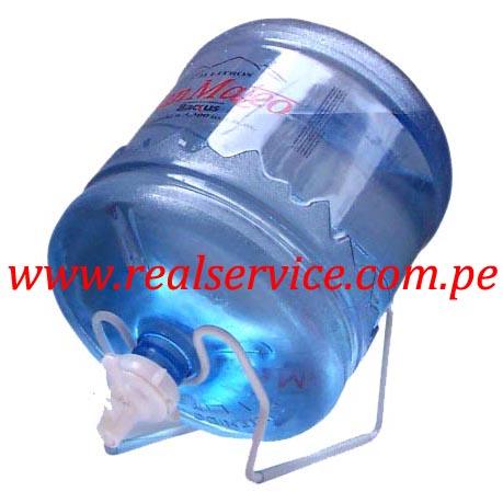 Soporte + valvula + envase + agua mineral San Mateo 21 litros retornable